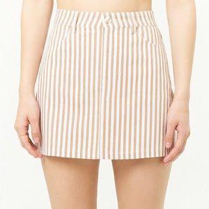 Lulu's Striped Cotton Tan & White Mini Skirt